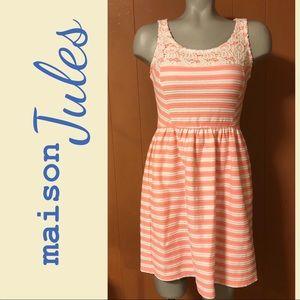 Maison Jules coral stripe fit & flare dress XS